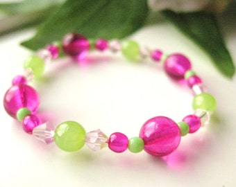 Pink and Green Small Girls Bracelet, Stretch Bracelet, GBS 168