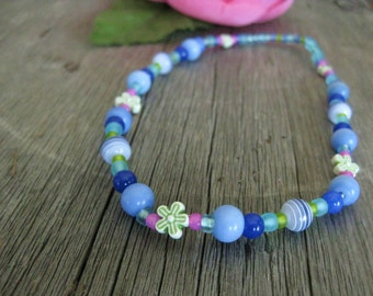 Blue Green and Pink Stretch Necklace with Flowers for Girls, Medium Girls Necklace, GNM 119
