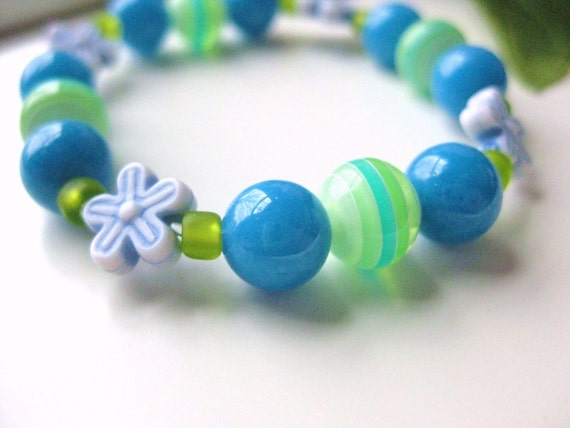Blue and Green Beaded Bracelet with Flowers, Medium Girls Bracelet, GBM 108