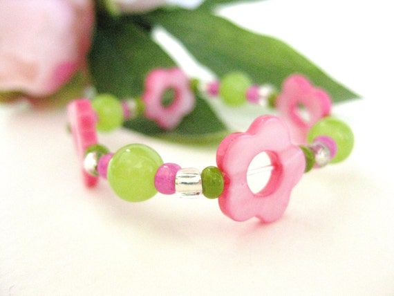 Girls Bracelet Pink Flowers Pink and Green, Childrens Jewelry, Medium, GBM 174