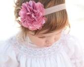 Coral Flower Headband: Pom Pom Fabric Flower on elastic headband perfect for Newborn-Adult
