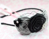 SALE Rosette Headband with rhinestone center on black satin headband perfect for flower girl or every day