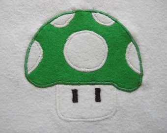 Super Mario Brothers 1-Up Mushroom Flannel Baby Bib Made to Order