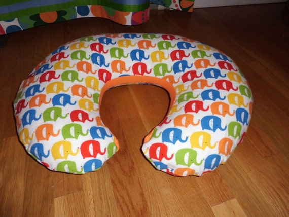 Elephant Print Boppy Pillow Cover Flannel  super soft Hoffman It's a Jungle Out There Print