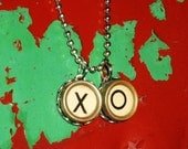 XO Hugs and Kisses-Custom- Authentic Antique Typewriter Key Pendants on Silver Ball Chain Necklace-Mothers Day