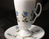 Demitasse Cup Saucer Blue Roses -TALL Bone China - Vintage