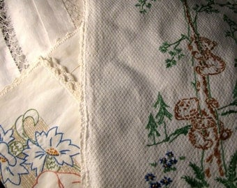 Vintage White Linens Collection Tablecloth Runner Towels - 5 pieces
