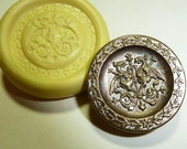 Antique button mold- Griffons, flexible silicone push mold, PMC, Art Clay Silver, fimo, Sculpey, jewelry mold T7