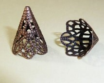 Bead Cones, Iron, Nickel Free, antique copper finish, 17mm x 20mm, hole: 1mm, great for enameling, qty 6