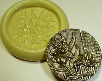 Antique button mold- floral, flowers, flexible silicone push mold, PMC, Art Clay Silver, fimo, Sculpey, jewelry mold N2