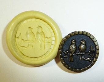 Antique button mold- Birds singing, flexible silicone push mold, PMC, Art Clay Silver, fimo, Sculpey, jewelry mold P3