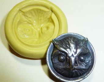 Antique button mold- Owl, flexible silicone push mold, PMC, Art Clay Silver, fimo, Sculpey, jewelry mold T5
