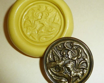 Antique button mold-Bird, flowers, floral, flexible silicone push mold, PMC, Art Clay Silver, fimo, Sculpey, jewelry mold T13