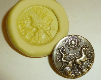 Antique button mold-horses and chariot, flexible silicone push mold, PMC, Art Clay Silver, fimo, Sculpey, jewelry mold T17