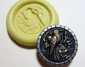 Antique button mold-Bird,  flexible silicone push mold, PMC, Art Clay Silver, fimo, Sculpey, jewelry mold C11