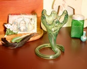 1970s blown art glass vase GREEN swirl