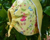 Yellow butterfly floral springtime gingham reversible baby bonnet