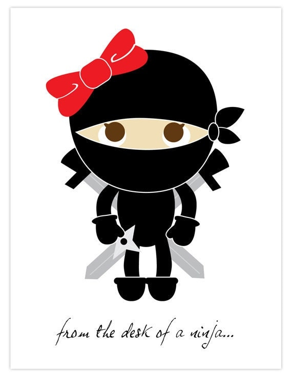 From The Desk Of A Girl Ninja Card Set By Paperflavor On Etsy