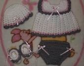 Baby Girl Crochet Diaper Dress Set -  Hat, Dress, Diaper Cover, & Booties Sz. 0 - 3 months (Made To Order)