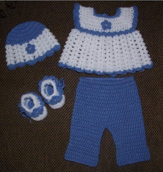 Baby Girl Crochet Diaper Dress Set - Hat, Diaper Dress, Pants, & Booties Size Newborn (Ready To Be Shipped)