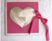 Pink Valentine Card with ribbon ties