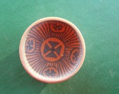 Pottery, Southwestern Native American Indian miniature hand crafted and painted signed pottery bowl
