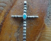 Cross, sterling silver vintage cross with turquoise inlay stone in center