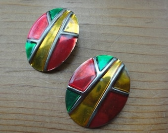 Vintage stained glass design earrings.