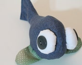 SALE - 50% OFF - beady-eyed fish in blue and green cotton print