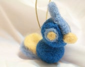 SALE - 50% OFF - wide-eyed blue and yellow needle felted bird ornament