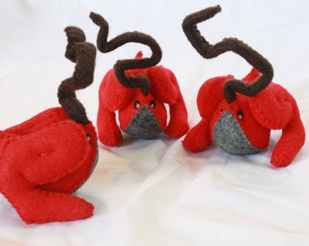 SALE - 50% OFF - red felt Hopp with brown antennae