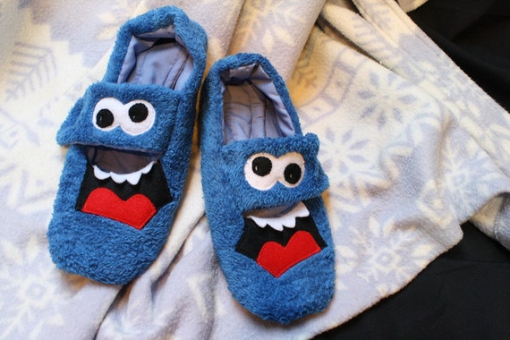 fuzzy blue monster slippers - ON SALE