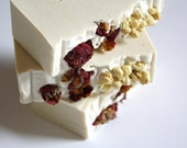 Rose and jasmine cold process luxury soap, organic jasmine and rose petals, for her perfect gift, exclusive, flowers, handmade