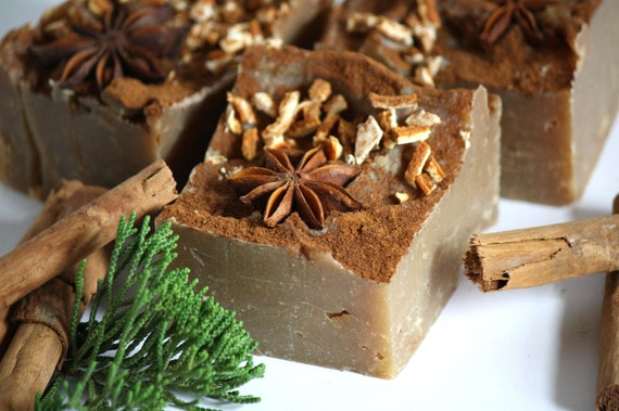 Organic Grandma's Kitchen spices artisan cold process soap, rustic natural, anise cinnamon clove, for her him, gift hostess, brown