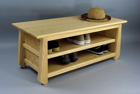 Japanese Tansu Style Shoe Storage Bench in Natural Ash and Oak