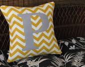 Personalized porch pillow initial chevron pattern