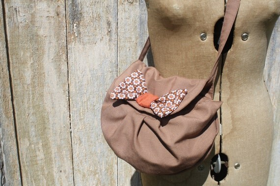 Brown Pleated Long Strap Purse