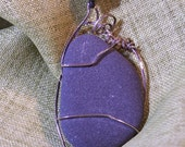 Sterling Silver Wire Wrapped Beach Stone Necklace OOAK