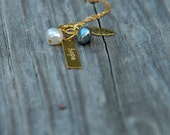 Hope Charm Cluster Necklace Leaf Charm, Blue and White Freshwater Pearls