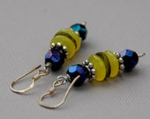 Yellow and Indigo Earrings with Silver Indian Spacers and Green Malachite