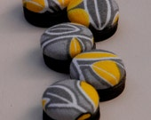 Yellow and Gray Button Magnets - Fabric Covered Leaf Pattern - Set of 5