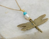 Dragonfly Necklace with Turquoise and  Mother of Pearl on Gold Chain