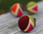 Pink Brown Ring -  Geometric Shapes - Triangles and Lines