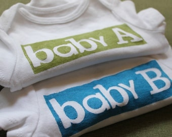 Twin Onesies  Baby A and Baby B
