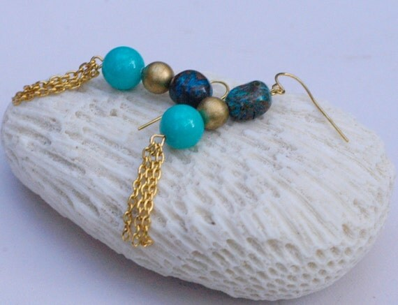 Turquoise  Blue Gold Earrings with Gold Tassles