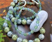 Blue Crackle Glass Pendant Necklace, Aventurine and Blue Agate Bead Necklace, FREE SHIPPING, OOAK Necklace