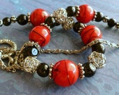 Red Bead Necklace - Glass Bead Necklace, Black Beads, Silver Beads, FREE SHIPPING