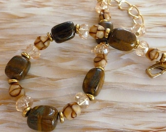 SALE ~ Candy Store Bracelet Brown Ironstone Czech Glass Caramel Champagne