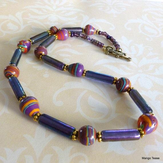 Fiesta Necklace Tubular Glass Beads Puprle Green Blue