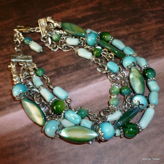 Cool Beauty Bracelet - Bamboo Coral Turquoise Dyed Jade Shell Multistrand Green Blue